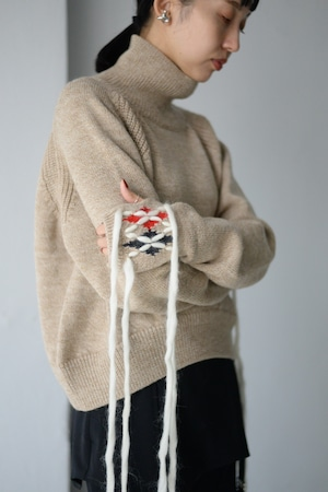 YOHEI OHNO / sweater with argyle hands (beige)