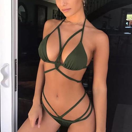 Bikini♡ボディクロスビキニ ダークグリーン