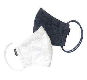 新作レディース高級素材 デザイナーズマスク2枚セット COOLMAX使用 日本製 花柄刺繍 綿レースマスク ホワイト/ネイビー色