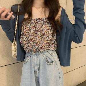 小花柄キャミソール+長袖カーディガン