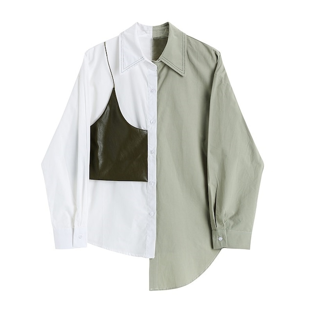 バイカラーアシンメトリーシャツ(2color) B210909