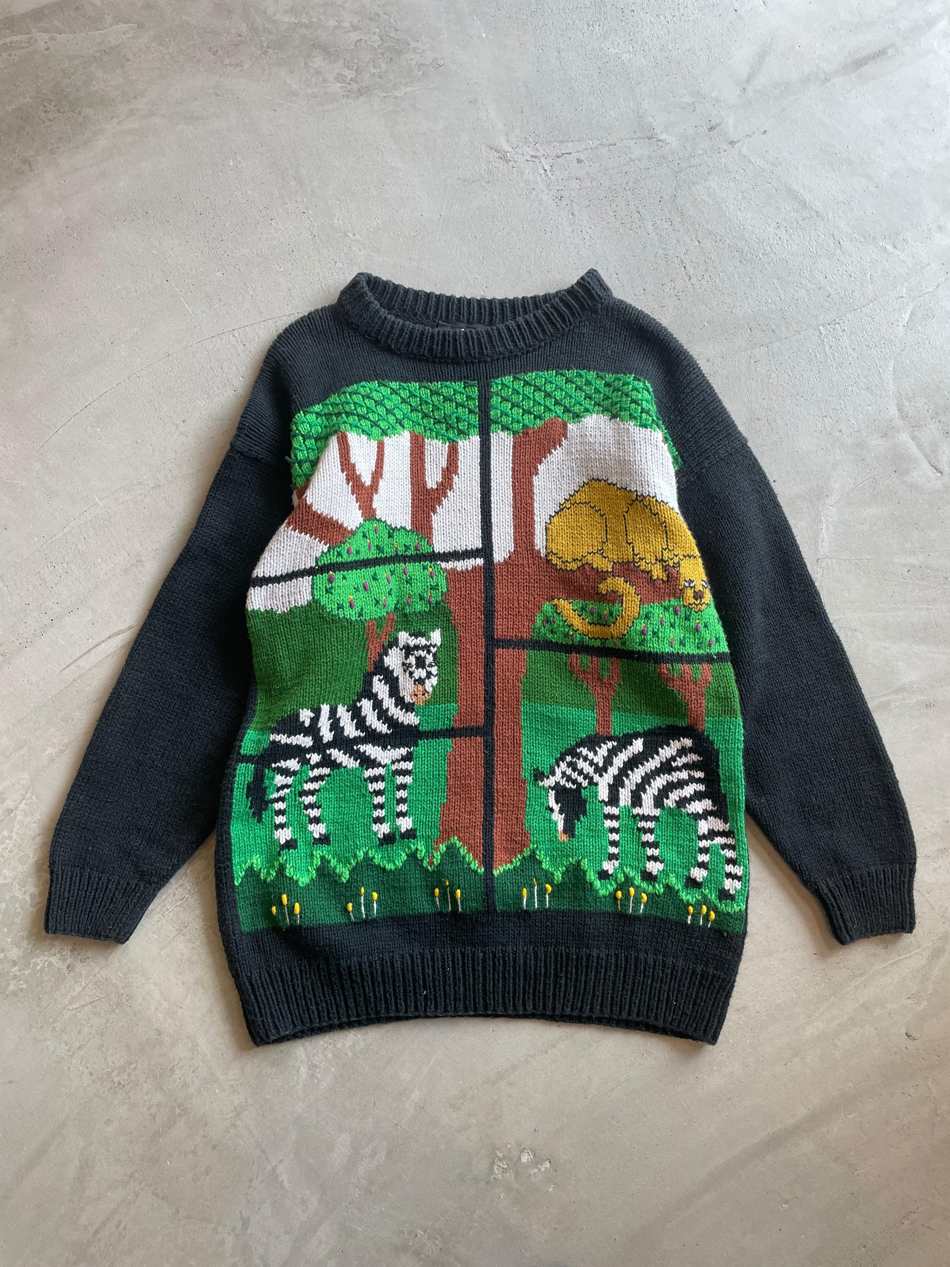 vintage animal motif cotton sweater