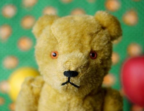 熊さんのぬいぐるみ ドイツ ヴィンテージテディベア 黄色 アンティークベア