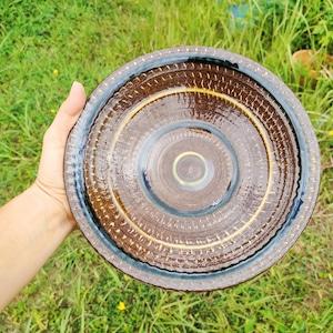 7寸皿一枚焼き/飛びカンナ象嵌に輪描き色差し
