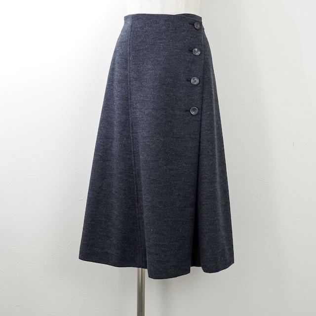 【PASSIONE/パシオーネ】圧縮ニットラップ風スカート(チャコール)