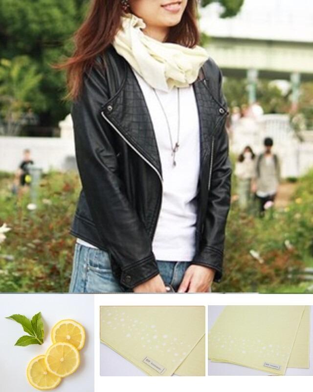 温感手ぬぐいスカーフ【Arareイエロー】100%国産天然綿 和晒生地使用(送料無料)