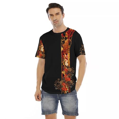 家紋ライン装飾 メンズ&レディースTシャツ ベルベット or ジャージ