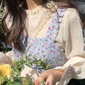【即納】花柄フリルトップス