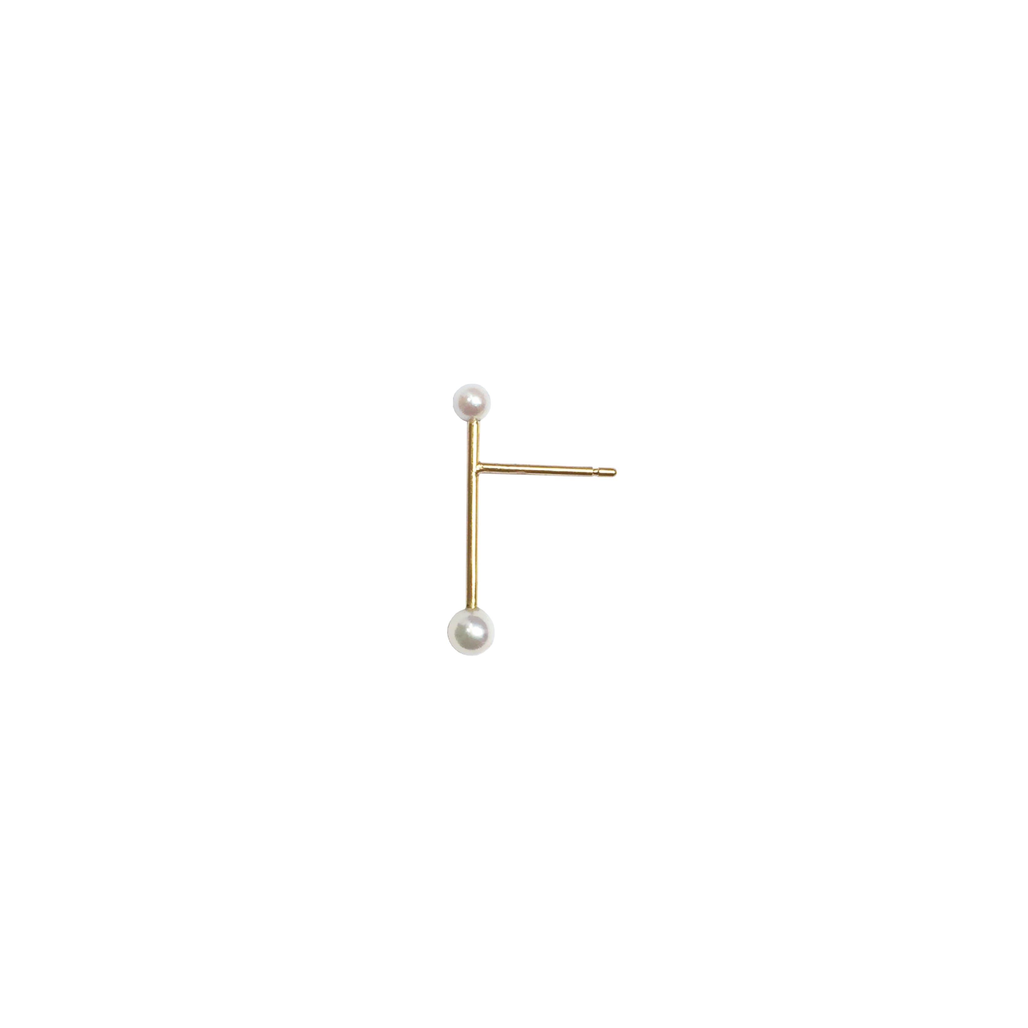 K18 Long Pipe Pierce with Akoya Pearls