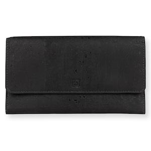VEGAN TRIFOLD WALLET  BLACK / 三つ折り長財布 黒 コルク製