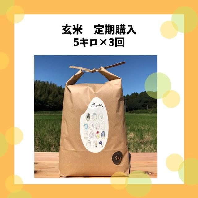 【ちょっぴりお得なお米の定期便】玄米5キロ×3回