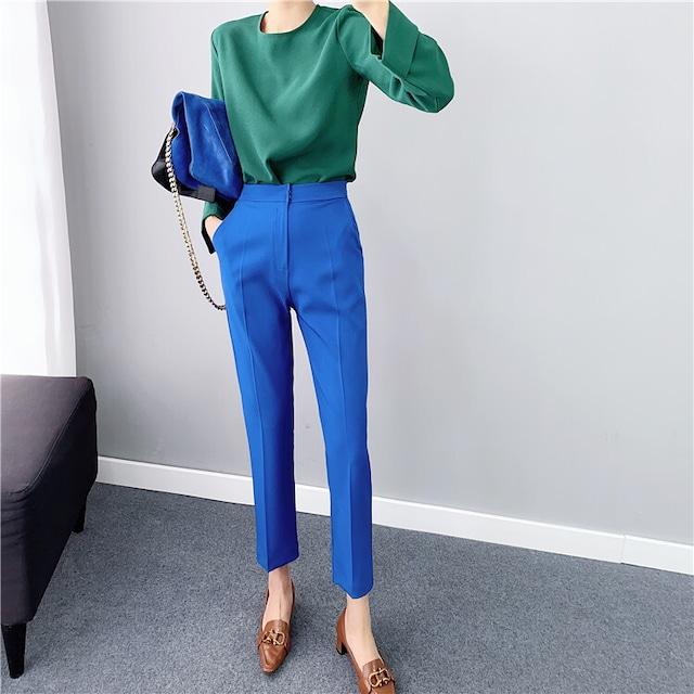 【パンツ】】Lサイズ センタープレス カラーパンツ・ブルー