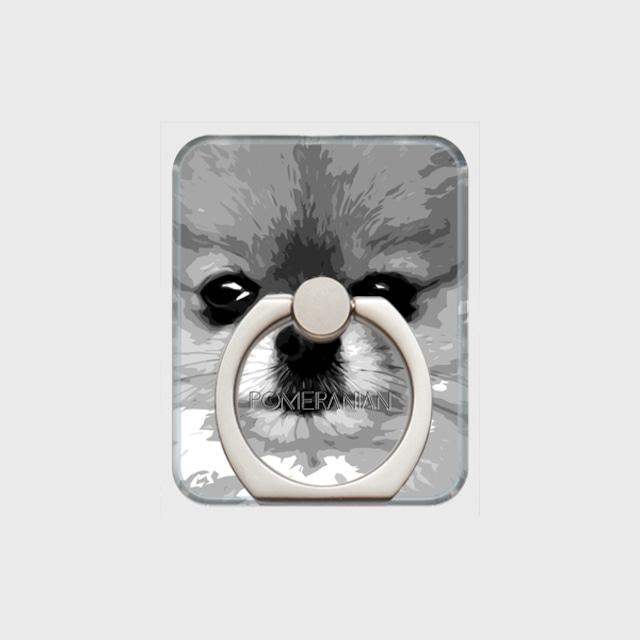 ポメラニアン おしゃれな犬スマホリング【IMPACT -shirokuro- 】