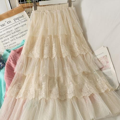 3色/レースチュールケーキスカート ・18408