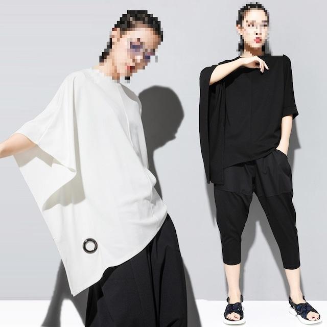 アシンメバットスリーブシャツ 2色 【210429】