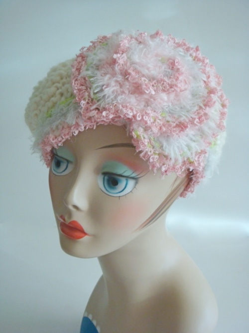 ベレー帽 <オフホワイト×ピンク>
