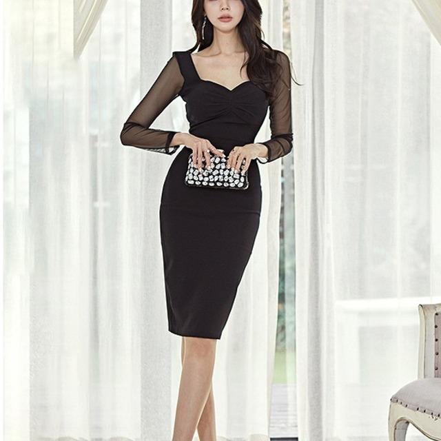シースルータイト ミディアムドレス 長袖 袖付き セクシーレディース ナイト ブラック タイト