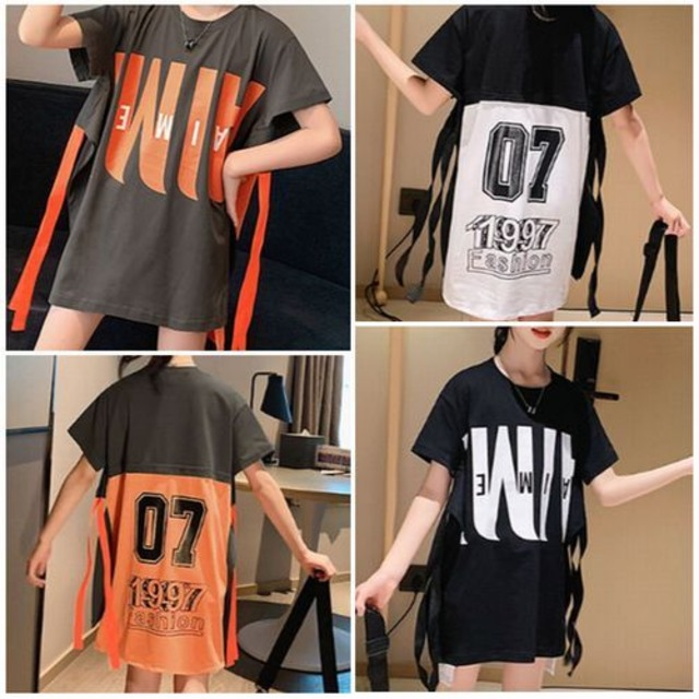 110cm~160cm 2カラー★ チュニック スカート 半袖 Tシャツ カジュアル