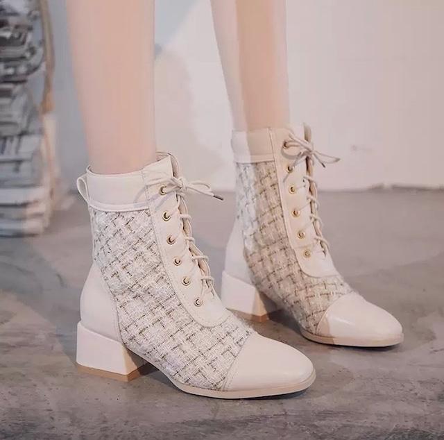 tweed short boots 2color