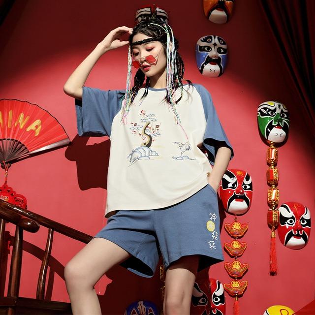 【睡尚美シリーズ】★チャイナ風パジャマ★ トップス+短パン コットン 配色 鶴 ゆったり M L XL 2XL 青い