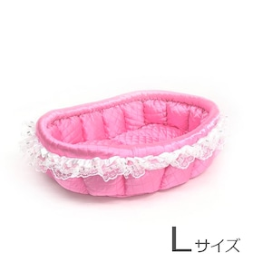ふーじこちゃんママ手作り ぽんぽんベッド(サテンピンク)Lサイズ【PB3-011L】