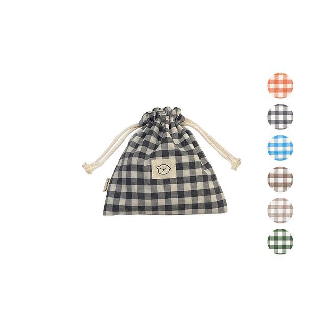 [haedal._.store] ヘダル チェック 巾着ポーチ Small(全6色)