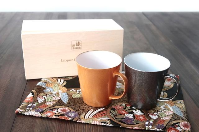 『漆薄手磁器』 『Lacquered Egg Ceramic』 『マグカップペア』*陶胎漆器 マグカップ セット 贈り物 日本酒 乾杯 記念 ギフト プレゼント お祝い 敬老の日
