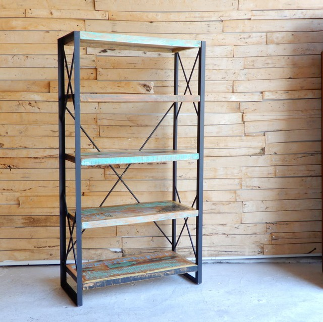 TOPANGA Furniture リサイクルウッド&アイアン 5段シェルフ H150cm