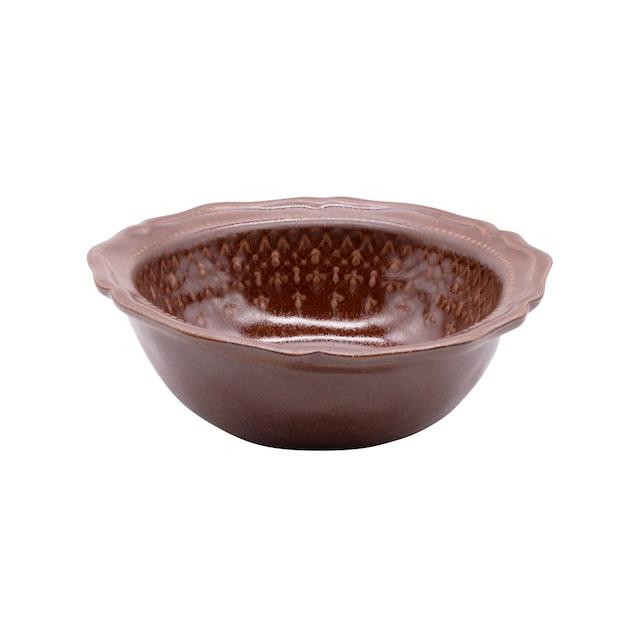 益子焼 わかさま陶芸 「フレンチレース」 ボウル 鉢 皿 M 約17cm ブラウン 256043