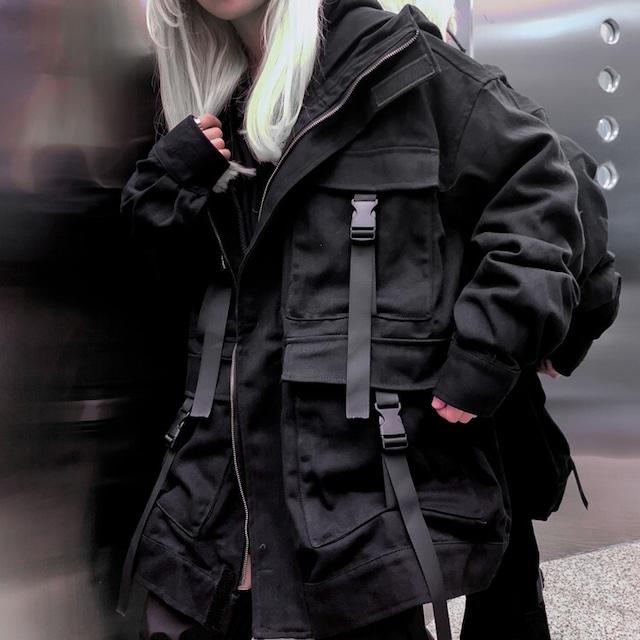 【都谷シリーズ】★アウター★ ジャケット 男女兼用衣装 ゆったり ブラック 黒い 合わせやすい かっこいい ポケット付き