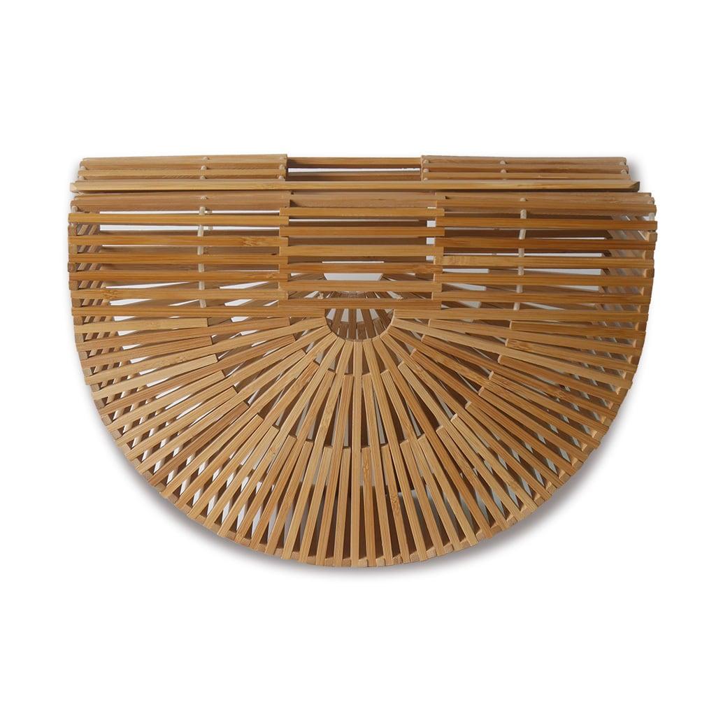 【セール】IUHA 扇形ハンドバッグ(大) 自然派 軽量 かごバッグ 竹かご 竹細工 お財布 小物収納   iuhawwc1710015
