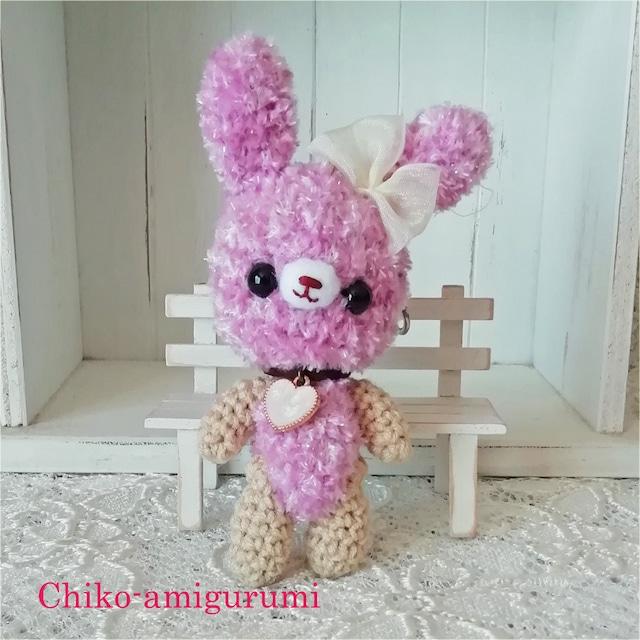 Chiko-amigurumi:キーホルダー パープルうさぎさん ♪