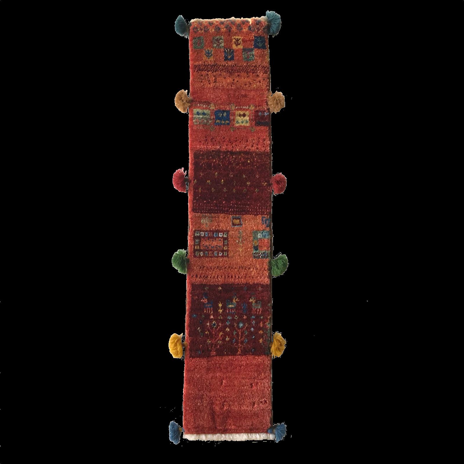 ギャッベ 細長タイプ M 【GB-055】赤 動物・生命の樹 15×90