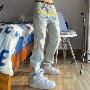 【ボトムス】ストリート系ファッション刺繍プリントデニムパンツ48100749