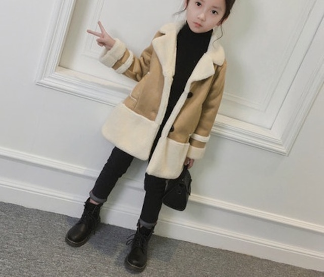 【韓国子供服 ムートン裏ボアコートジャケット】サイズ100 女の子子供服 カジュアル 暖かい 送料無料