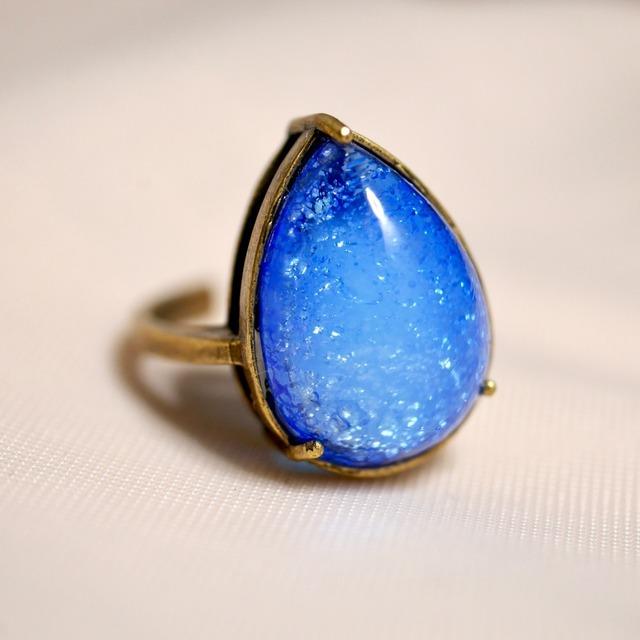 里帰り日本製 ブルーガラスリング(指輪)