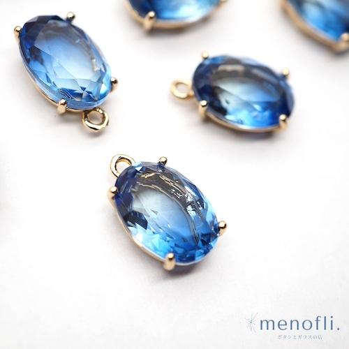水色青 カン付き オーバル ゴールド枠 チャーム チャイナガラス ラインストーン グラスストーン