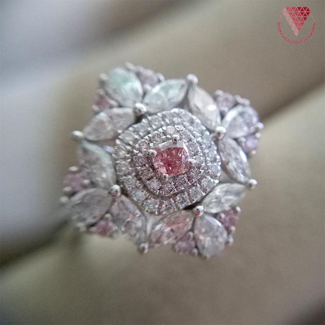 0.079 ct Fancy  Intense Pink VS2 (メインストーン CGL付) 天然  ピンク ダイヤモンド プラチナ  リング