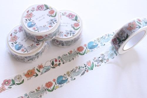 フローラシリーズ / 花と猫と鳥 15mm×10m マスキングテープ