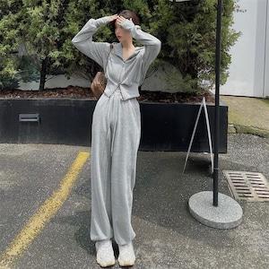 【セット】SNSで話題沸騰ファッションフード付きカーディガン+ハイウエストカジュアルパンツ52179335