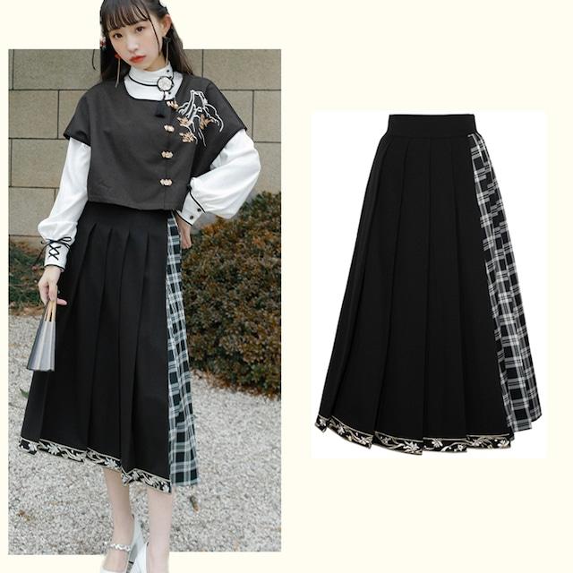 【十三余シリーズ】★チャイナ風スカート★ ボトムス プリーツスカート チェック柄 ブラック 黒い