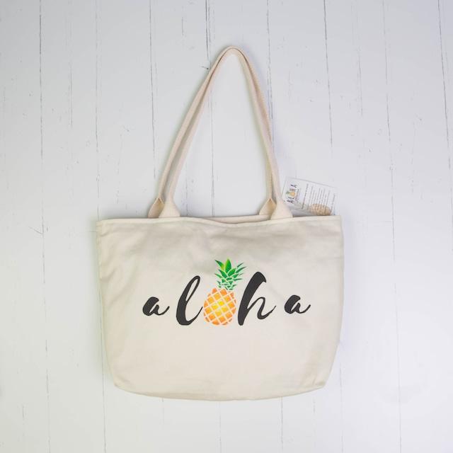 トート(防水裏地付き)Aloha Script Pineapple