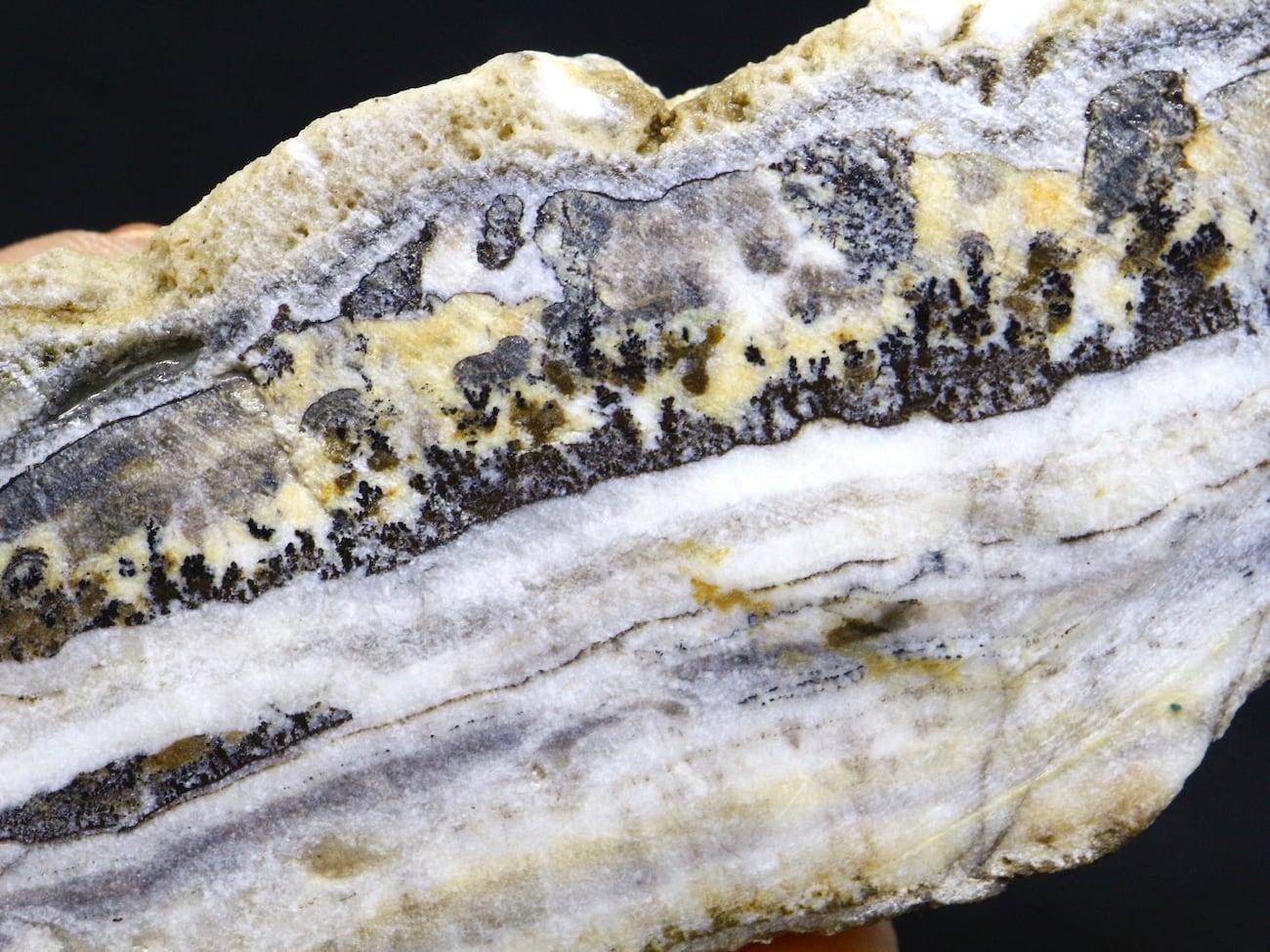 シルバーレースオニキス デンドリチック 縞瑪瑙 スライス 61,9g 原石 SLO014 鉱物 天然石 パワーストーン