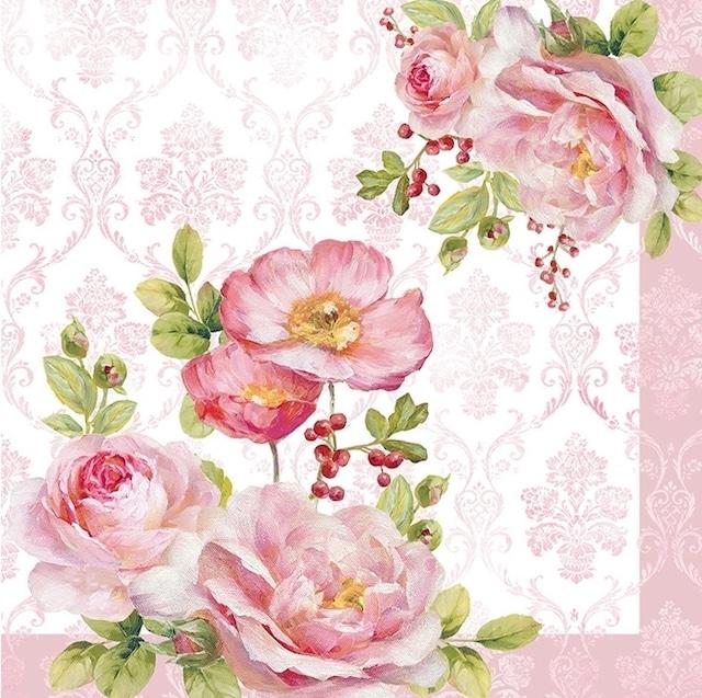 【Easy Life】バラ売り2枚 ランチサイズ ペーパーナプキン Floral Damask ローズ