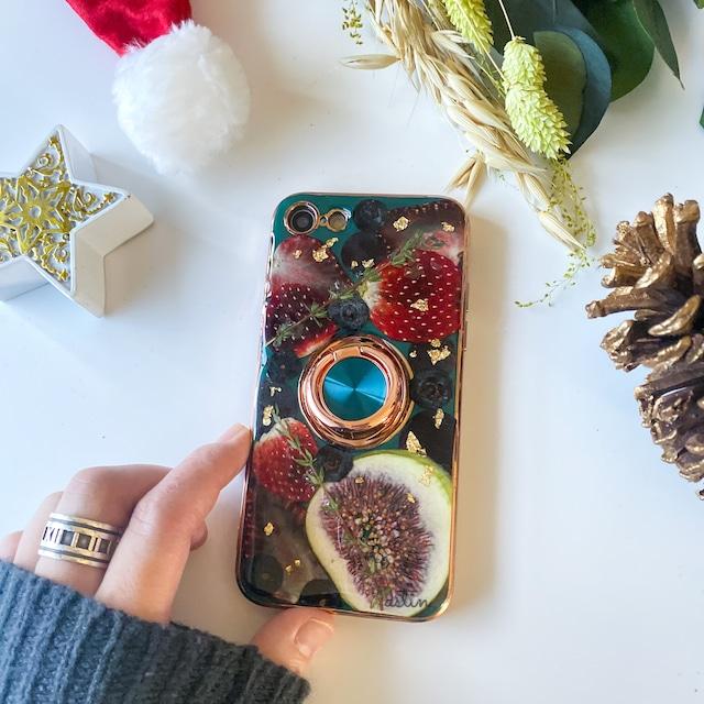 【pastel】クリスマス2021 押しフルーツスマホケース ボルドー