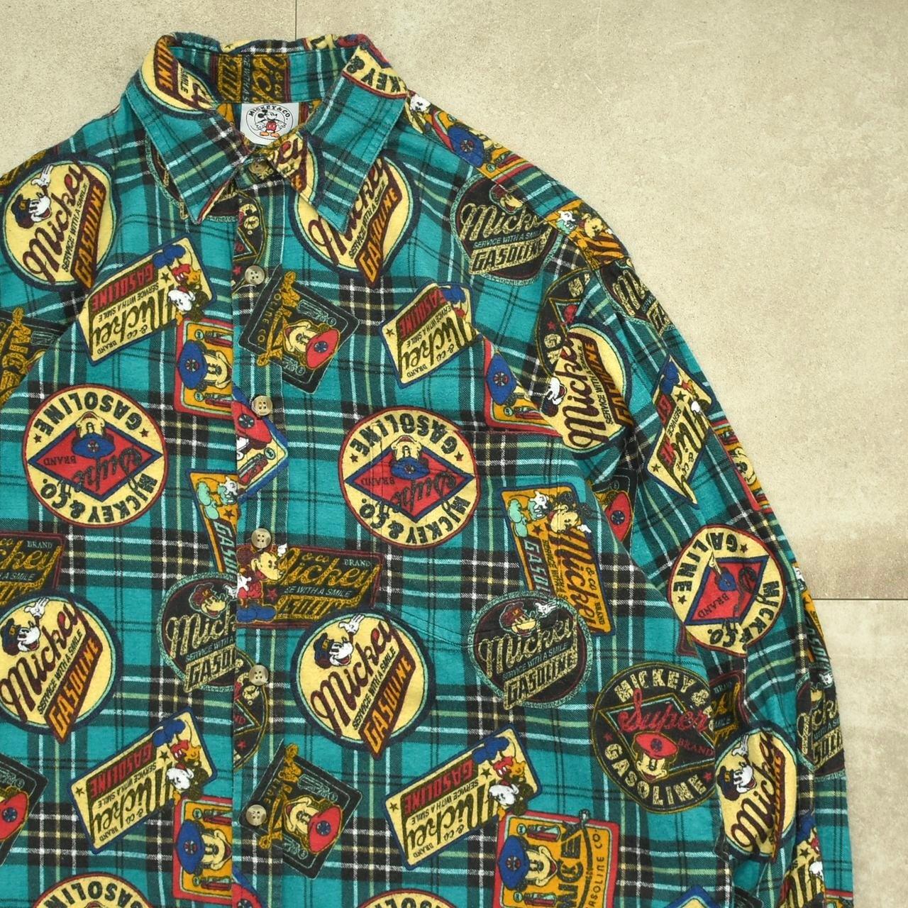 90's Retro MICKEY pattern flannel shirt