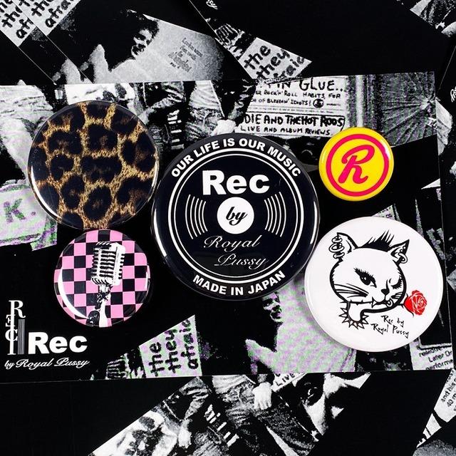 Rec by Royal Pussy / レックバイロイヤルプッシー「Rec Badge Set」缶バッジセット ポストカード付き 猫 ネコ 豹柄 ヒョウ柄 Rマーク メンズ レディース ロック パンク ROCK PUNK バンド シドヴィシャス 川村カオリ ギフトラッピング無料 ステージ衣装 Rogia