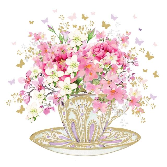 【Paperproducts Design】バラ売り2枚 ランチサイズ ペーパーナプキン TEA CUP BLOSSOMS ホワイト