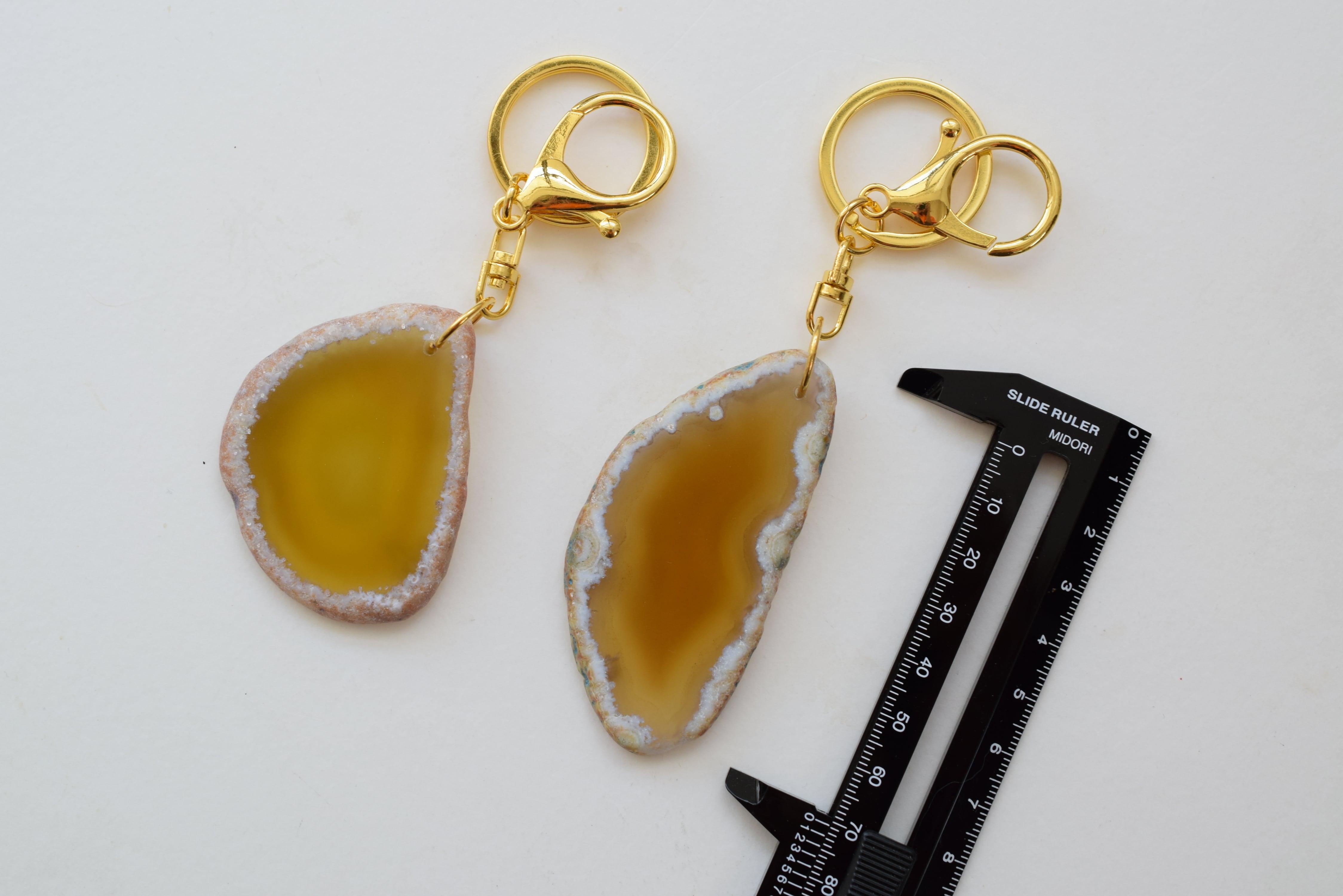 Agate slice key holder −Yellow−