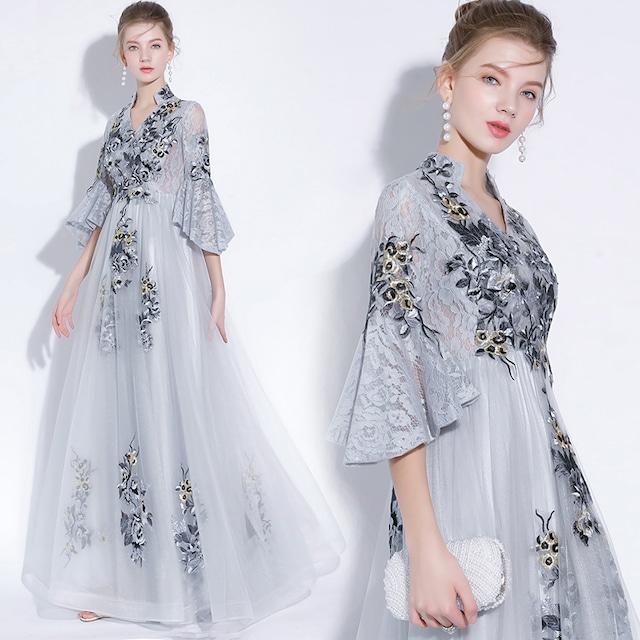 パーテイードレス  ロングワンピース 結婚式 成人式 マキシ丈 Vネック チャイナ風 刺繍ドレス 8size 3color